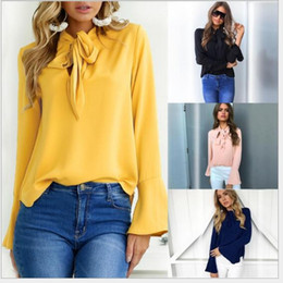Wholesale Short Puff Ladies Blouse - New 2018 Spring Women Blusas Lace Up Flare Sleeve Elegant Chiffon Blouse Loose Ladies Office Shirt Bow Tie Top Plus Size
