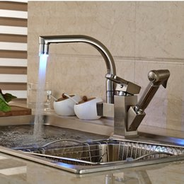 Wholesale Brushed Nickel Pull Out Faucets - LED Changing Brushed Nickel Kitchen Faucet Deck Mounted Vessel Sink Mixer Tap Pull Out Sprayer Sink Tap