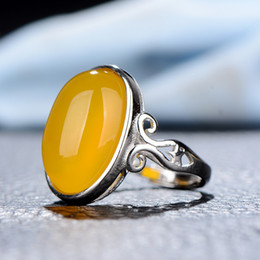 Anéis de jade amarelo on-line-Yellow jade ring yellow jade 13 mmx 18 mm large size nude stone ring 925 silver inlaid jade