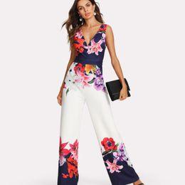 hirigin Frauen Blumendruck tiefen V-Ausschnitt und trägerlosen zwei Könige von Stil Playsuit Bodysuit Party Overall von Fabrikanten
