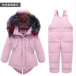 45e30417fe Russia Winter Warm Baby Girl s clothing sets Girl Ski suits Children s Outdoor  clothes Fur down coats Jackets+trousers Jumpsuit