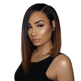 full lace wigs under 2018 - Full Lace Human Hair Wigs brazilian short human hair ombre color 1b 4# straight lace front human hair wigs