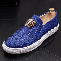 2018 Nouveau Style Western Luxe Hommes Mocassins Slip On Mocassins Glitters Bling Élégant Appartements Flats Chaussures Homme Partie Chaussures S47 ? partir de fabricateur