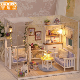 Wholesale Miniature House Lights - Wholesale-Assemble DIY Doll House Toy Wooden Miniatura Doll Houses Miniature Dollhouse toys With Furniture LED Lights Birthday Gift H13
