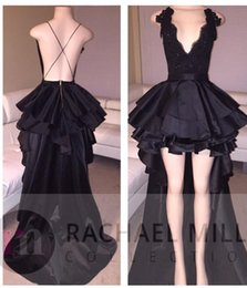 Wholesale Low Back Cocktail Dress - High Low Black Prom Dresses 2018 Ball Gown Tiered Deep V Neck Lace Top Formal Evening Cocktail Party Gowns ME010