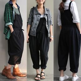 6bafe96ce13 Plus Size Women Oversize Sleeveless Dungaree Long Harem Trousers Stylish  Womens Long Loose Jumpsuits Preppy Style Overalls