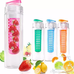 Wholesale bottle flip tops - 28Oz Fruit Infuser Water Bottle Sport BPA Tritan Rod Shaker Ball Lemon Orange Infuser Mug Cup With Flip Top Lid HH7-371