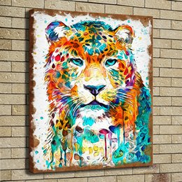 Wholesale leopard print home decor - HD Print Poster Oil Painting Wall Art Painting Panther Leopard Jaguar Watercolor Wildlife Animal Picture on Canvas Illustration Home Decor