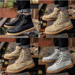 Botas de otoño baratas online-Los zapatos baratos de la costura atractiva de la moda del otoño y del invierno, hombres casuales del cordón del resbalón al aire libre patean la manera al por mayor