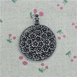 Braccialetto fiore da discoteca online-10pcs charms fiore coperto disco 58 * 45mm argento antico pendente in lega di zinco gioielli fai da te accessori braccialetto collana artigianale