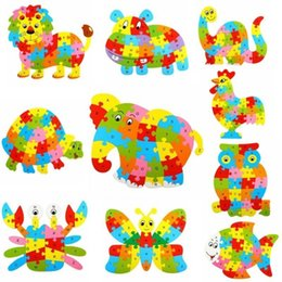 Wholesale Patterns Puzzles - 26 Patterns Wooden Animal Alphabet Early Learning Puzzle Jigsaw For Kids baby Educational Learing Intelligent Toys