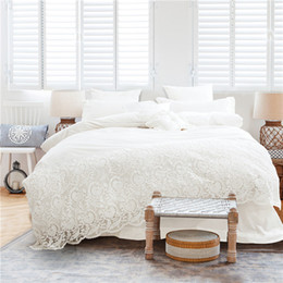 Wholesale Wedding Bedding Sets Lace - Korean Style Girls White Lace Bedding set Egyptian Cotton 4 7pc King Queen Size Luxury Wedding Bed set bedsheet Duvet cover