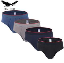 Hombres de baja altura de deslizamiento online-4pcs / lot SKYHERO Men Underwear Briefs Bragas Sexy Mens Brief Hot Cotton Low Rise Calzoncillos cortos Gran bolsa de los hombres Slips Nkd