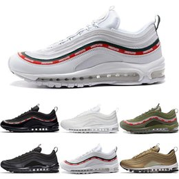 Wholesale online athletic - Online Size 5.5-11 97 Shoes Triple White Black Pink Running Shoes OG Metallic Gold Silver Bullet Men Trainers Women Sport Athletic Sneakers