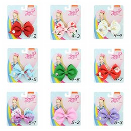 cardboard gifts Coupons - Christmas Baby Girls Jojo siwa bow Hair Clip Grosgrain Ribbon Hairclip Barrettes bowknot Hairpins DIY Hair Accessory Gifts with Cardboard