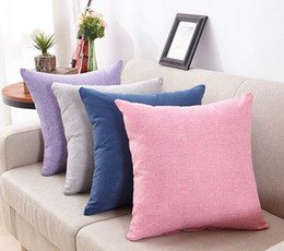 Wholesale Navy Throws - New arrival Simple Fashion Cotton Linen Nap Cushion Cover Candy-Colored Home Decor Sofa Throw Pillow Case Solid Pillowcase