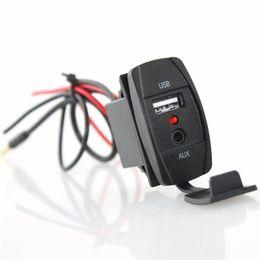Mikro-usb-kabel-schalter online-Form des Schalters DC 12V 2.1A Car-Audio-Zubehör 3,5-mm-Buchse AUX-USB-Buchse Adapter USB-Autoladegerät USB-AUX-Kabel Kabel Draht