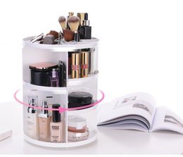 Wholesale Box Shelves - Plastic Storage Rack Three Colors Desktop Cosmetics Organizer 360 Degree Rotary Multi Function Box High Capacity Durable wen5816