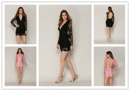 Wholesale Sexy Dress Uniform - Women Cheerleading uniform Women Sexy Deep V Halter Hollow Slim Lace Dress Skirt Black Pink Charming Noble Party Banquet
