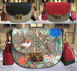 Wholesale Christmas Closures - Womens 453189 Padlock Medium Tian Shoulder Bag Canvas+Genuine Leather Web Strap Lock Closure with Box Dust Bag Free Shipping