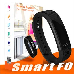 Wholesale phone purple - ID115 F0 Smart Bracelets Fitness Tracker Step Counter Activity Monitor Band Alarm Clock Vibration Wristband for iphone Samsung Android phone