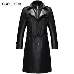 YuWaiJiaRen X-Uzun Deri Ceket Erkekler Klasik Siyah Takım Elbise Yaka erkek Giyim Erkek Sonbahar ve Kış Lengthen Siper blouson nereden