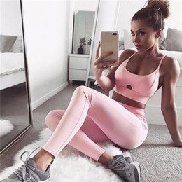 Wholesale Workout Pants Wholesale - 2017 Sexy Women Sport Suit Yoga Set Hollow Out Tracksuit Solid Push Up Yoga Bra Vest +Pants Leggings Workout Sportswear