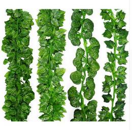 Decorazioni a foglia online-2 m piante artificiali lunghe verde edera foglie uva artificiale vite falso parthenocissus foglie fogliame casa wedding bar decorazione