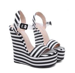 15cm Chic platform wedges sandals black white zebra striped PVC strappy shoes designer high heel size 35 to 40