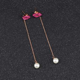 2019 pendentif perles rouges Boucles d'oreille femme perle rouge lilas femme boucles d'oreilles perle longue boucles d'oreilles perle en titane promotion pendentif perles rouges