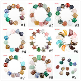 amethyst crystal points Coupons - Fashion Cheap Healing Crystals Point Turquoise Amethyst Rose Quartz Chakra Heart Moon Natural Stone Pendants Charms For Stone Necklaces