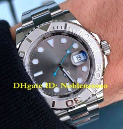 Reloj de acero color azul online-2 Colores de Lujo 116622 Acero Platino 40mm YachtMaster Gris Dial Azul Mano Pre poseído Asia 2813 Movimiento Reloj automático para hombre