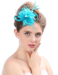Chapéu pequeno britânico on-line-Chapéu De Noiva britânico elegante fotografia de casamento adereços pena hairpin banquete pequeno chapéu tiara