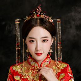 accessoire de cheveux rouge de mariage chinois Promotion Costume de coiffure de mariée chinoise Phoenix Crown Photographie Accessoires de cheveux de mariage Tassel Headband Red Beaded Hairband Ornement