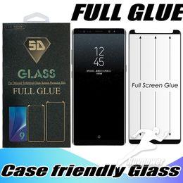 étuis de téléphone pour samsung note Promotion Nouveau cas de téléphone pour Samsung Galaxy Note9 S9 S8 Plus Note 8 Case Friendly Full Glue Trempé Verre Avec Paquet Au Détail