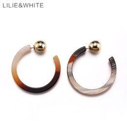 Wholesale Beads For Hoop Earrings - whole saleLILIE&WHITE 2017 C-shaped Design Acrylic Hoop Earrings For Girls CCB Beads Earrings For Women Gift Custom Jewelry Wholesale HF