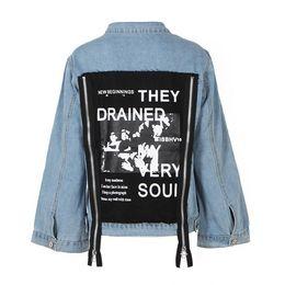 Wholesale Back Patches - 2018 Autumn Back Patch Denim Jacket For Women Female Jeans Feminine Coat Zipper Women's Basic Coats Fashion Clothes