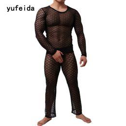 Men's Sleep & Lounge Fishnet Pajamas Sets Mens Tranparent Tank Tops Pants Trousers Mesh Sleep Vest Undershirts Bottoms Sleepwear Underwear Nightwear