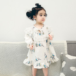 Wholesale Cotton Lace Nightgowns - 2018 Girls Unicorn Nightgowns Carrot Pajamas Warm Spring Autumn Home Clothing Lace Cotton Long Sleeve Lace-up Loose Pajamas 6-24M