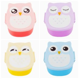 Wholesale kids bento - Best Selling Cute Variety Solid Color Cartoon Owl Lunch Box Food Container Storage Bento Microwave for Kids