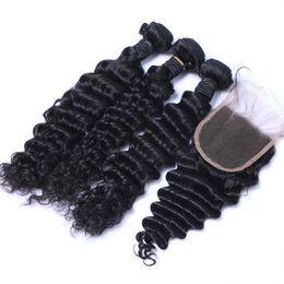 8A Brésilienne Profonde Vague Cheveux Bouclés 3 Faisceaux Avec Fermeture Libre Moyen 3 Partie Double Trame Extensions de Cheveux Humains Teinture De Cheveux Humains ? partir de fabricateur