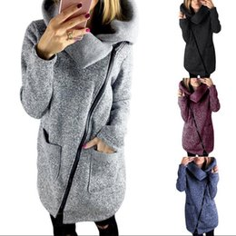 Wholesale Long Coat Sweaters 3xl - Women Side Zipper Coats Long Sleeve Hoodie Sweater Autumn Winter Casual Outwear High Collar Pullover Blouse 50pcs OOA3931