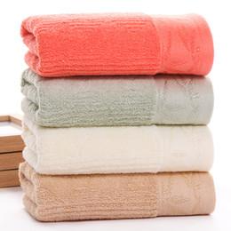 Argentina 13 * 30 pulgadas de bambú Firber Hand Towel Home Jacquard Bathroom Shower Towel Dry Dry Hair Towe para niña 4 colores (rojo, azul claro, blanco, marrón) cheap white hair towels Suministro