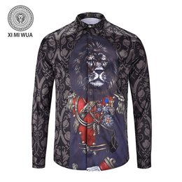 Wholesale Flannel Shirt Dresses - 2018 hot Autumn winter long sleeve Casual lion shirts men printed dress shirt Color Print Slim Fit medusa Silk Shirts
