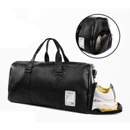 leather duffel bags Coupons - Travel Bag Black Large Capacity Luggage Duffel Totes Handbag Leather Shoulder Bag Crossbody PU Mens Fitness Storage Package