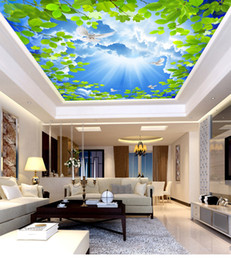 Custom Retail 3D Blue Sky White Clouds Green Roof Ceiling Zenith Mural