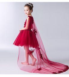 2019 маленькие девочки красные платья невесты Длинный рычаг Red Lace Маленьких девочек Pageant платье Свадьба Праздник невеста День рождения Тюль Кружево девушка цветок дешево маленькие девочки красные платья невесты