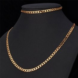 New Fashion Gold Color Chains 4MM Width Hiphop Necklace For Men Heavy Fine Jewelry Sets Wholesale Curb Link Chain Hot Sale Free Shipping Deals
