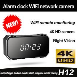 Mini orologio digitale a led online-Nuovo LED Digital Mirror Clock WiFi Wireless HD 4K 1080P Mini Telecamera Home Security Night Telecamera IP Rilevatore di movimento Mini DV