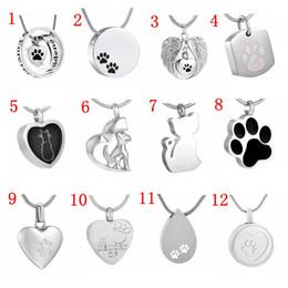 urnes de chien pour les cendres Promotion Bijoux de crémation pour animaux de compagnie en acier inoxydable 316L Collier pendentif urne pour chien souvenir de cendres pour chat de chien - Free Engrave Text